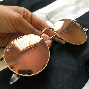 Ray-Ban Accessories - ROSE GOLD MIRRORED ROUNDED RAYBAN 52mm